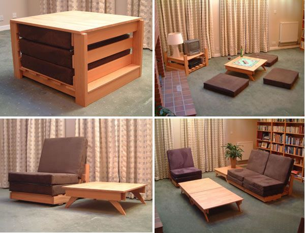 multi functional furniture, living room, table chair,